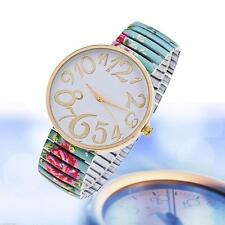 fashion lady watches for Geneva stretch band flower dial floral printed Green Jð