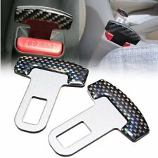 2x Car Safety Seat Belt Buckle Alarm Null Insert Stopper Clip Clamp Carbon Fiber