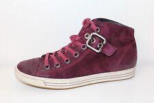 PAUL GREEN Echt LEDER HIGH TOP Sneaker Schuhe Turnschuhe Größe 37 UK7.5 weinrot