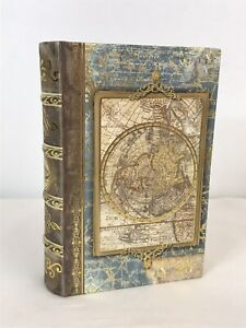 Small Punch Studio Map Globe Stash Faux Book Box Magnetic Closure
