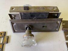 Vintage Antique Cast Iron Brass Glass Door Lock Set Knobs Mortise