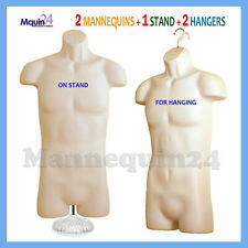 2 Flesh Mannequin Male Torsos Set - 2 Plastic Dress Forms + 2 Hangers + 1 Stand