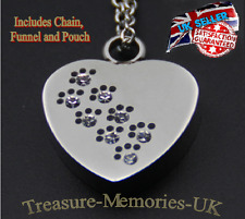 Pet Dog Cat Paw Heart Cremation Ashes Necklace Funeral Memorial Ash Urn Pendant