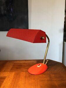 JOLIE LAMPE DE BUREAU AVEC FLEXIBLE , COULEUR ORANGE, VINTAGE