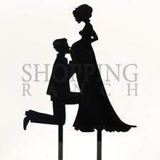 Wedding Cake Topper Mr & Mrs Expecting Pregnant Bump Black Acrylic Decoration