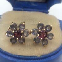 14k Gold Estate Vintage Earrings Designer Flower Purple Pink Stone