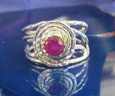 Ring indischer Rubin - Stein des Juli - in Spirale aus Sterling Silber 925