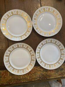 Richard Ginori Designer Italian Pompei White & Gold China Dinner Plate Set Of 4