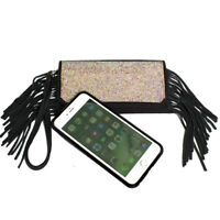 Raviani Full Crystal Mesh iPhone 7/8 Plus Cellphone/Wallet/Wristlet W/Fringe