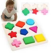 New Wood Geometric Square Toys 9 Shapes Puzzle Baby Toy Educational Bricks Toy