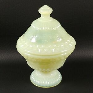 DAWN Color COVERED CANDY DISH Boyd's Crystal Art Glass 1st Logo Mark NOS
