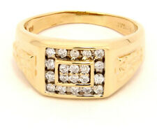 14k Yellow Gold Men's Ring with Diamonds Size 13.5