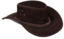 Aussie Brown Western Style Cowboy Outback Real Suede Leather Aussie Bush Hat