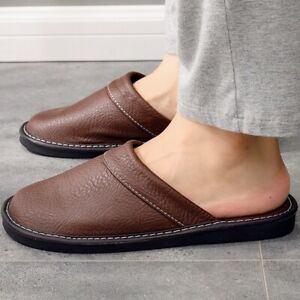 Fashion Sneakers Slipper Men Leather Shoes Unisex House Round Toe Flat Footwear