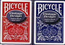 2 Vintage Bicycle Safety Back Playing Cards Red & Blue! Ohio made!