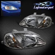 1999 2000 Honda Civic Dx/Lx/Ex/Exl Gunmetal Headlights Head Lamps Pair
