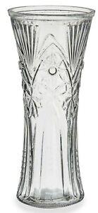 30cm Tall Glass Flower Vase Flared Design, Rippled Cut Glass Design Flared Vase