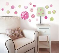 PINK DOTTY 20 Wall Decals green dots flower Decorations Room Decor Stickers VL