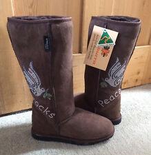 Koolaburra Chocolate Brown Peace Rocks Crystal Sheepskin Boots UK4 EU37 New