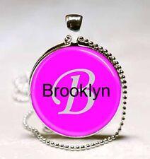 Handmade Brooklyn Name Monogram Glass Tile Necklace Pendant