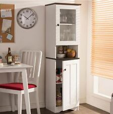 Kitchen Hutch Small Storage Cabinet Tall White Pantry Food Organizer Furniture