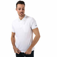 Mens Ben Sherman Printed Collar Jersey Polo Shirt In White- Short Sleeve- Ribbed