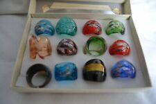 Beautiful glass rings x 12
