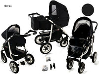 Baby Pram Pushchair Buggy Stroller + Car Seat + Raincover, Travel System 3 in 1