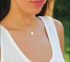 tiny disc necklace gold coin necklace thin chain choker necklace collar necklace