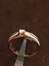 Pave 0.35 Cts Round Brilliant Cut Diamonds Engagement Ring In Fine 18K Rose Gold