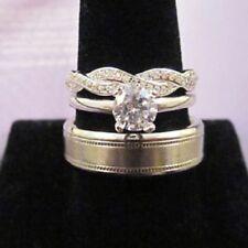 Mens Woman Lab Diamonds Wedding Ring Bands Trio Bridal Set White Gold Finish