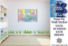 Peppa Pig wall sticker 3D Effect Window Childrens Bedroom Kids Wall Decal BIG