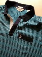 Mens Penguin Short Sleeve Slim Fit Striped Polo Shirt Size M