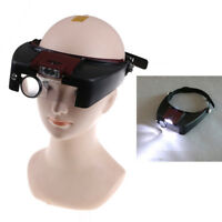 10X Headband Magnifying Glass Eye Repair  Tool Magnifier LED Light Glasses $T