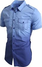 Mens CASUAL BUTTON DOWN SHIRTS Dress Tee Short Sleeve Slim Fit Summer Woven