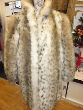VINTAGE 80'S FULL LENGTH SNOW LEOPARD FAUX FUR COAT SIZE 12 TO 16  LARGE