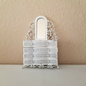 Dollhouse Miniature White Iron Wire Wicker Furniture Dresser W Mirror & Drawers