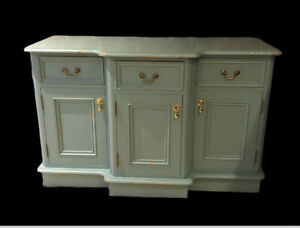 Pine Cabinet, Drawers & Cupboards, Painted In Duck Egg Blue