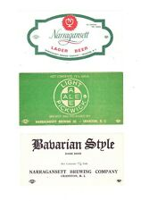 Three (3) Narragansett Brewing Co. beer keg labels from RHODE ISLAND !