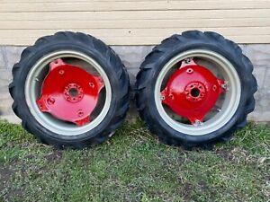 Farmall Cub rear wheels, rims, hubs and tires.