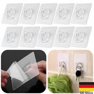 10er Selbstklebend Haken Magische Klebehaken Wandhaken Transparenter Ohne im