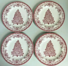 "Staffordshire Engravings Yuletide 4 Salad Dessert Plates Red Christmas Tree 8"""