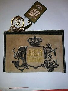 JUICY COUTURE BROWN CHANGE PURSE KEY RING NWT SUPER CUTE AND VERSATILE