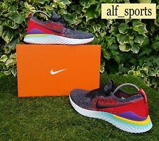 ❤ BNWB y Genuino Nike ® épica reaccionar Flyknit 2 entrenadores en Negro y Rojo Uk Size 9