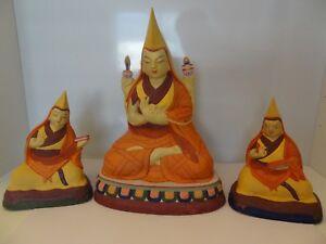 MONGOLIAN TIBETAN BUDDHIST HANDMADE CLAY PAPER MACHE TSONG-KAPA WITH APPRENTICE