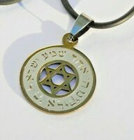 Gold Tone Shema Israel Star of David Pendant Necklace Hebrew Bible Jewish Prayer