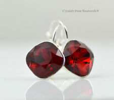 Silver Plated Earrings SHEENA *SIAM* RED 12mm Crystals from Swarovski®
