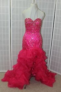 NEW Fuchsia High Low poofy Size 6 lace up back long formal beaded PROM gown