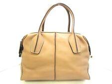 Auth TOD'S D-Bag Light Brown Leather Handbag