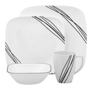 Square 16-Piece Simple Sketch Dinnerware Set Dinner Dishes Plates Bowls Mugs Cup